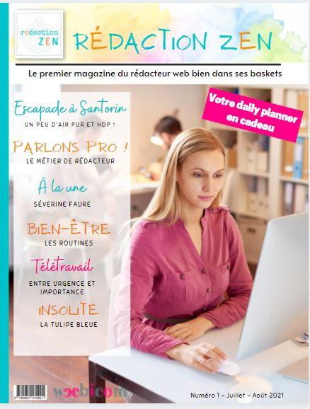 Couverture magazine rédaction zen rédactrice web